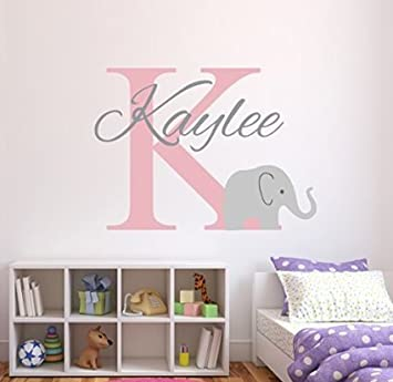 Elephant Personalised Name Wall Stickers For Babys Nursery