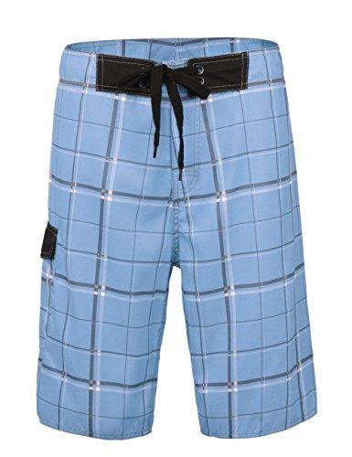 Nonwe Men's Beachwear Swim Shorts Quick Dry Plaid Pattern Light Blue 30