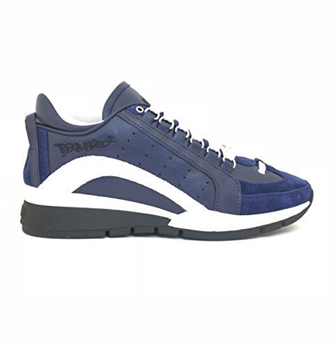 Dsquared2 Scarpe Sneakers Uomo in Pelle Nuove 551 Blu