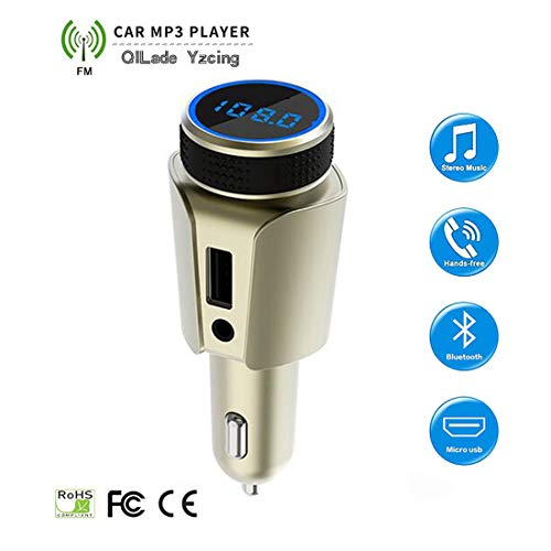 QILade Yzcing Wireless in-car 4.1 Bluetooth FM Transmitter Receiver Kit/QC3.0 Radio Adapter/Hand-Free Speaker/HI-FI Audio Player Support TF/SD AUX Voltmeter/USB Car Charger,Gold ()