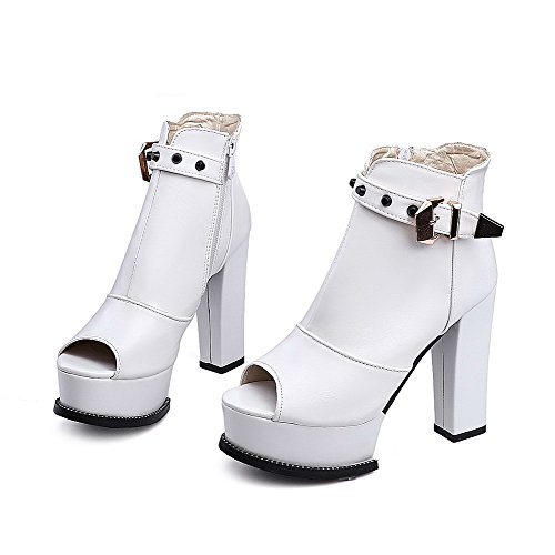 Zipper Toe White Material Peep Soft Heels Zipper Women's High WeenFashion Sandals 0aE4q6
