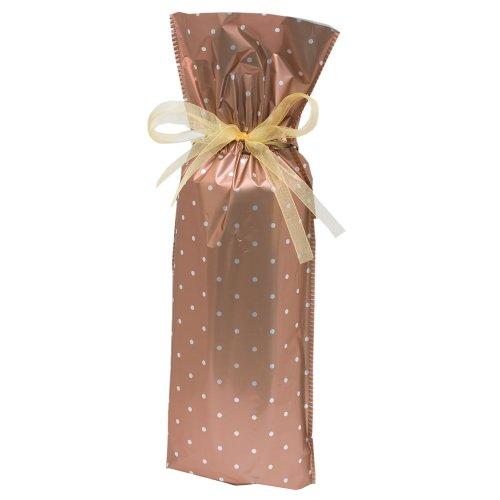 Gift Mate 21070-5 5-Piece Wine/Bottle Drawstring Gift Bags, Copper Polka Dot