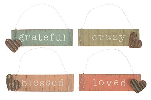 Honey and Me Crazy Loved Grateful Blessed Dangle Heart 7.5 x 3 Inch Pallet Wood Rectangle Hanging Signs 4 Piece Set