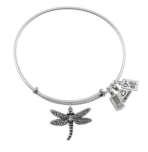 Wind and Fire 3-D Dragonfly Silver Medal Charm Bangle - Silver Dragonfly Bracelets