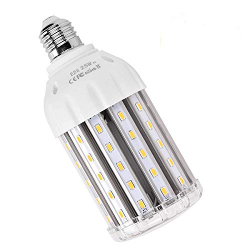 25W E26 LED Corn Light Bulb, MHtech E26 LED Bulb Warm White 2700K 2500 Lumen 200 Watt Equivalent Large Area Light Bulb LED for Home Backyard Garden Street Lamp Garage Factory Warehouse (E26 LED 2700K)