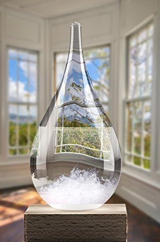 Storm Glass Weather Predictor by Yaya - High-class Crystal Weather Predicting Forecast Bottle - Decorative Drop Shape Barometer - Perfect Desktop Gift & Home Decor - Wall & Shelf Art (Small) by Yaya Home