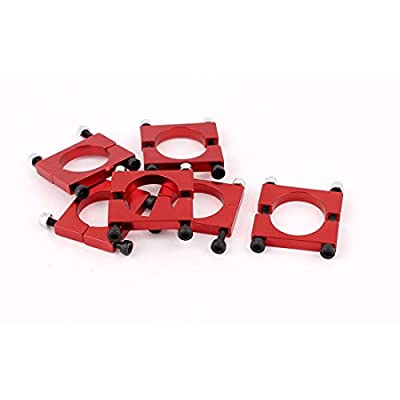 uxcell® 6Pcs 12mm Red Aluminum Alloy Clamp for Carbon Fiber Tube Quadcopter