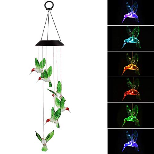 - EEEKit Solar Changing Color Hummingbird Wind Chime, Solar Powered LED Hanging Lamp Windchime Light for Outdoor Indoor Gardening Yard Pathway