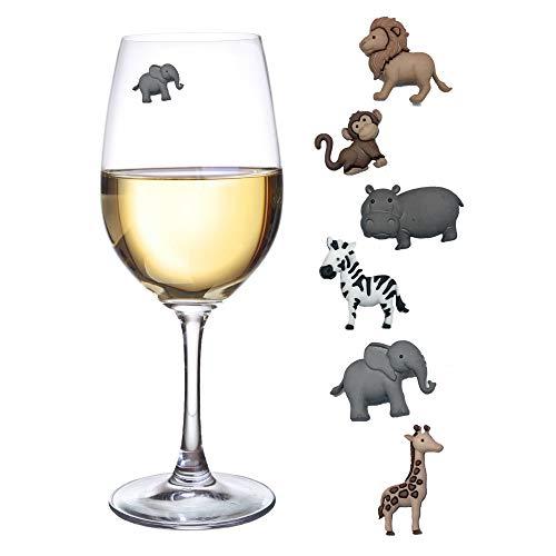 Safari Animal Charms - Animal Wine Charms Set of 6 Safari Themed Magnetic Wine Glass Drink Markers