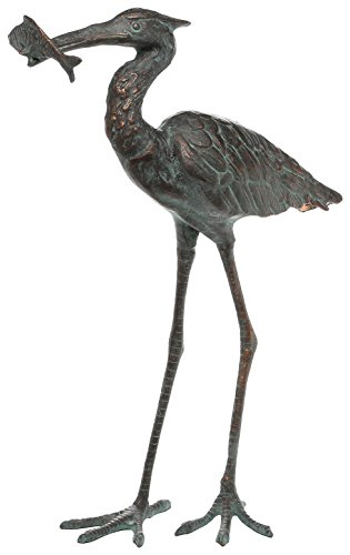 SPI Home 50606 Garden Single Crane Eating Fish Sculpture