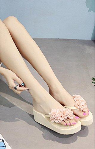 Damen Sandalen Mode Blumen Strand Schuhe rutschfeste Clip Füße High Heel Flip-Flops 3