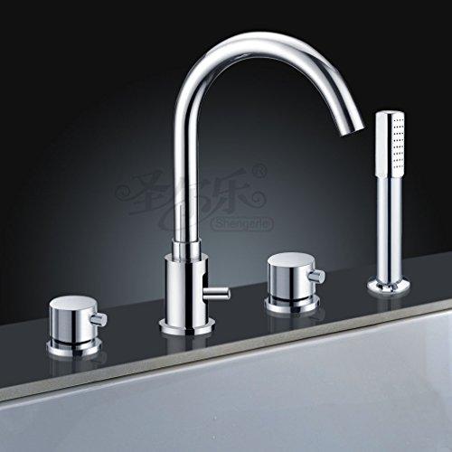 ETmla Four-Hole Bathtub Faucet Shower Set Desktop Basin Double Faucet Bidet -