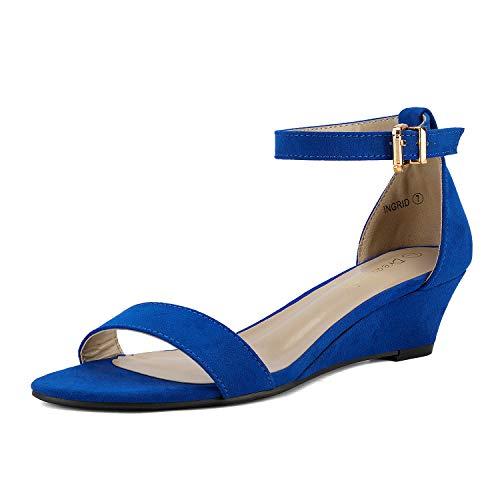 DREAM PAIRS Women's Ingrid Royal Blue Ankle Strap