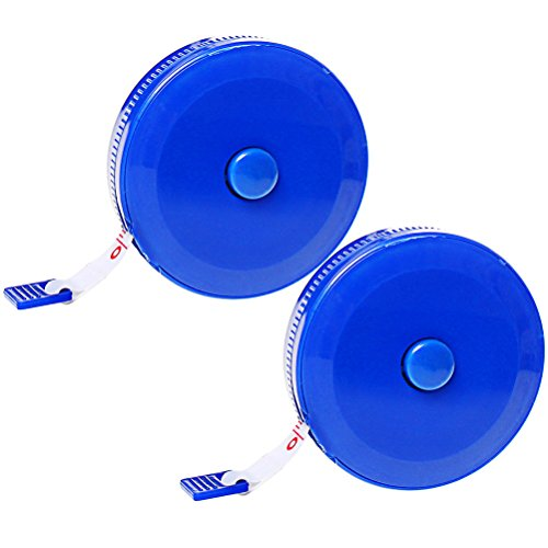 Pengxiaomei 2 Piece Retractable Measuring Tape, 60-Inch 1.5 Meter Soft Tape Measure, Blue Body Tailor Sewing Craft Cloth Dieting Measuring Tape