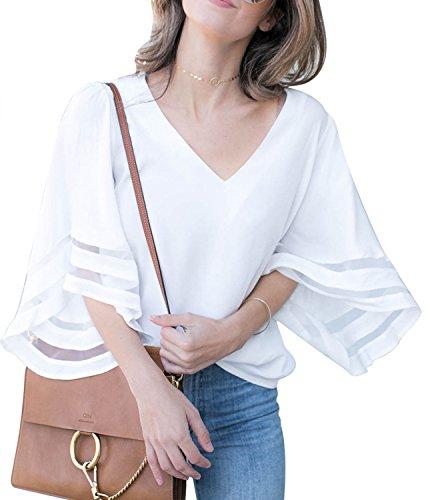 Blanc Shirt ete Chemisier Shirt Col T Oversize Ehpow Casual Top T V Femme qpX6W7x