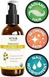 Viva Naturals Organic Jojoba Oil; USDA Certified Organic, 100% Pure & Cold-Pressed, Natural Moisturizer, Great for all Skin DIYs (Polishes, Moisturizer, Masks, Hair), 4 oz