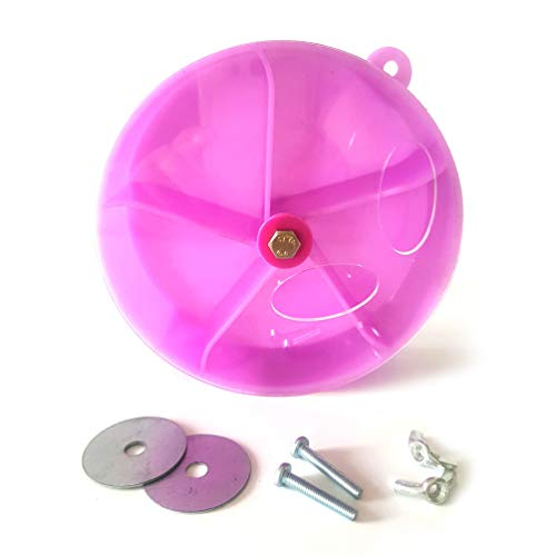 QBLEEV 5 Divisions Creative Bird Foraging Toy, Parrot Wheel Shape Puzzle Toys, Chewing Feeding Box Cages Shredder Accesssories for Conure Macaw Lovebird Budgie,Diameter-13cm/5, 120g Purple Pink