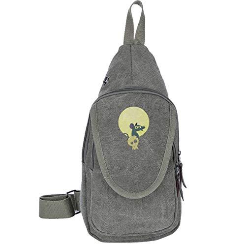 (Moon Rat Canvas Sling Bag Outdoor Crossbody Shoulder Chest Pack Travel Bags for Men Women Moss Green)