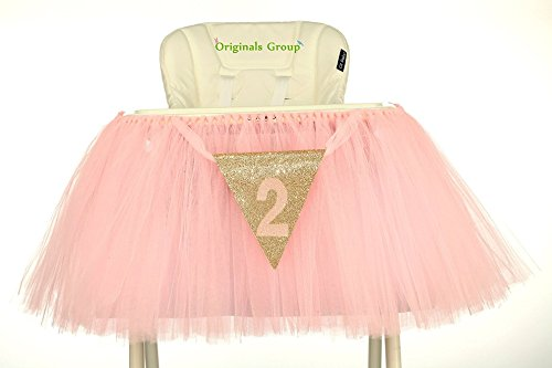 (Originals Group 2nd Birthday Baby pink Tutu Skirt for High Chair Decoration for Party Supplies)