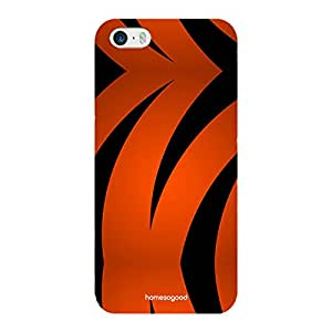HomeSoGood Black And Orange Strips Multicolor Case For iPhone 5 / 5S (Back Cover)