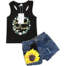 2Pcs/Set Fashion Toddler Kids Baby Girl Sleeveless T-Shirt Top+Floral Denim Shorts Outfits