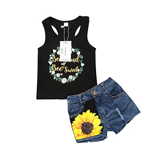 2Pcs/Set Fashion Toddler Kids Baby Girl Sleeveless T-Shirt Top+Floral Denim Shorts Outfits (Black+Denim, 3-4 Years)