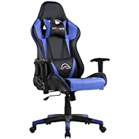 Acmate Massage Gaming Chair Ergonomic Gaming Computer Chair Racing Style Reclining Home Office Chair Height Adjustable Gamer Chair High Back Computer Chair with Headrest and Lumbar Support(Black/Blue)