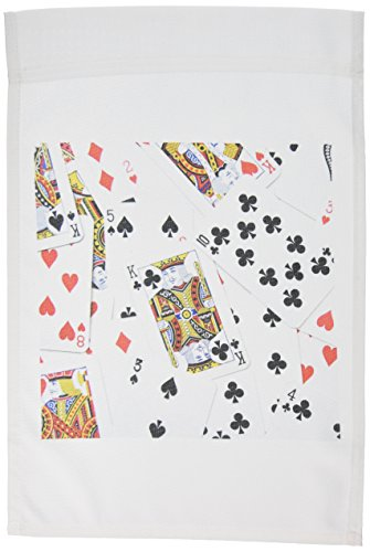 3dRose fl_112896_1 Scattered Playing Cards Photo-for Card Game Players Eg Poker Bridge Games Casino Las Vegas Night Garden Flag, 12 by 18-Inch