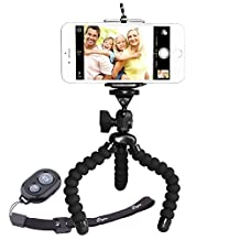 Tripod for Phone w/ Phone Mount&Remote Shutter, Peyou [Upgarded Version] 3 in 1 Lightweight Octopus Style Sponge Mini Tripod Stand + Phone Mount Holder for iPhone 7/7Plus 6S/6 6S Plus/6 Plus SE/5S/5 Samsung Galaxy S8/S8 Plus S7/S7 Edge S6/S6 Edge Note 5, Other Phones Width Between 55mm - 85mm + Bluetooth Wireless Remote Shutter