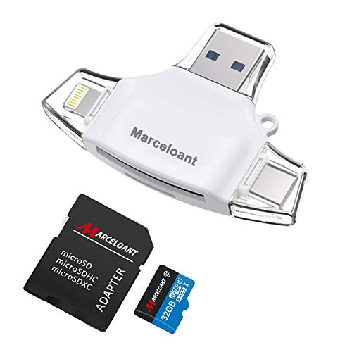 Flash Drives, Multi Interface Memory Card Reader, Micro SD/SD/TF Card Reader for iPhone iPad iOS Android 32GB Memory Stick (Triangle White Included 32GB TF Card) ()