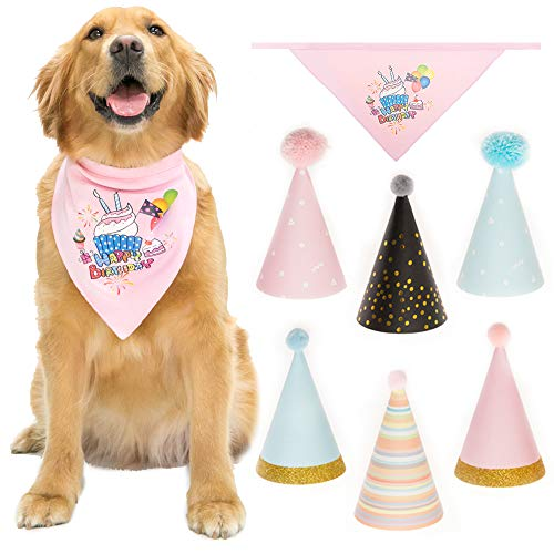 CHERPET Dog Bandana Birthday Triangular Scarf Printed with 6 pcs Cute Happy Party Hats Soft Cotton Great Doggie Bandanas Outfit Decoration Set Perfect for Puppy Kittens Supplies,Pink & -
