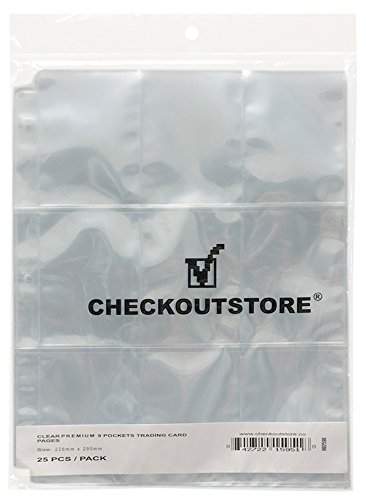 CheckOutStore (100) 9 Pocket Trading Card Page Protectors (Holds 18 Cards Back to Back) (Clear Double Sided)