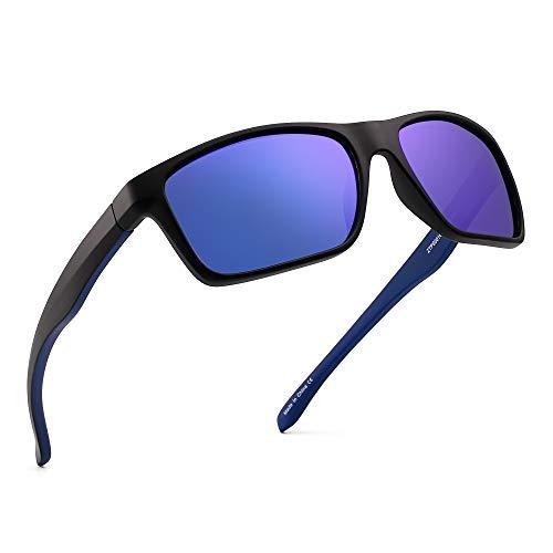 (Polarized Sports Sunglasses Mirror Wrap Around Driving Fishing Men Women (Black/Mirror Blue))