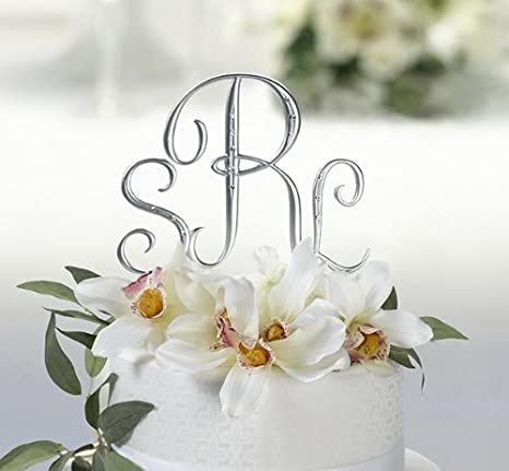 Nice Silver Monogram Wedding Cake Toppers Initials With Rhinestone   Set Of 3