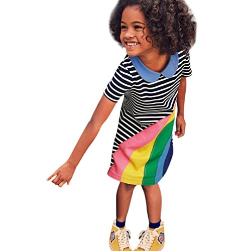 FEITONG Toddler Baby Kid Girl Rainbow Embroidery Dress Stripe Dress Outfit Clothes (Black, 4-5T) ()