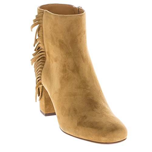 Saint Laurent Women's 'Babies' Fringed Short Block-Heel Ankle Boot Suede Tan EU 38 (US 8) (Yves St Laurent Shoes)