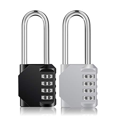 (Long Shackle Padlock 2 Pack Long Combination Lock, 4 Digit Combination Lock, Resettable Weatherproof Combo Lock for School, Gym & Employee Locker, Outdoor, Fence(Black and Sliver))