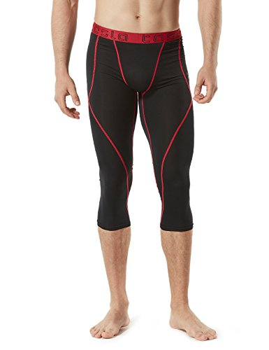 TM-MUC18-KKR_Large TSLA Men's Compression Capri Shorts Baselayer Cool Dry Sports Tights MUC18 by TSLA (Image #8)