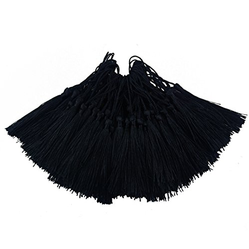 (100pcs 13cm/5 Inch Silky Floss Bookmark Tassels with 2-Inch Cord Loop and Small Chinese Knot for Jewelry Making, Souvenir, Bookmarks, DIY Craft Accessory (Black))