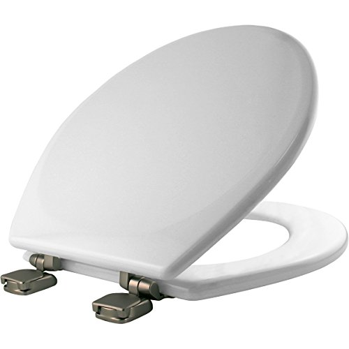 MAYFAIR Toilet Seat with Brushed Nickel Hinge will Never Loosen and Easily Remove, ROUND, Durable Enameled Wood, White, 49BNEC