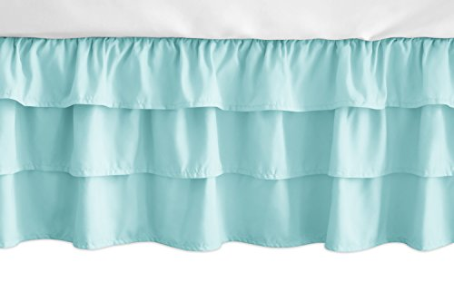 Sweet Jojo Designs Solid Turquoise Girl Ruffled Tiered Baby Crib Bed Skirt Dust Ruffle for Feather Collection ()