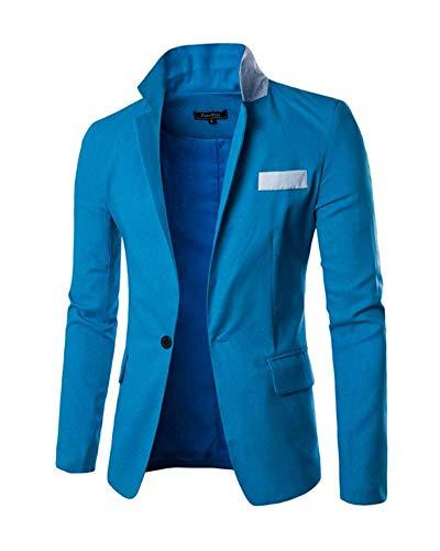Da Fit Sportiva Stile Leisure Button Slim Giacca One Lanceyy Corta Blau Semplice Classica Uomo Casual qnxHa0HIEX