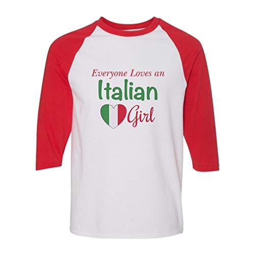 Everyone Loves an Italian Girl Cotton/Polyester 3/4 Sleeve Crewneck Boys-Girls Toddler Raglan T-Shirt American Apparel - White Red, 6T