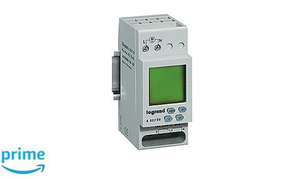 Legrand 603780 con temporizador semanal digital MICROREX D21, 1 canal, 2 de modulig para carril DIN con 230 V y 4000 W: Amazon.es: Industria, ...