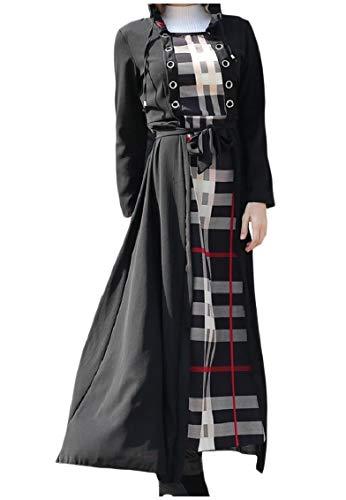 Coolred-femmes Musulmanes Abaya À Capuche Moulantes Maxi À Carreaux Islamic Longue Robe Noire