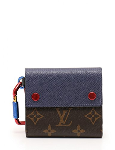 (ルイヴィトン) LOUIS VUITTON コンパクトウォレット モノグラム Wホック二つ折り財布 PVC レザー 茶 青 赤 18SS M63041 中古 B07DFZCFMT