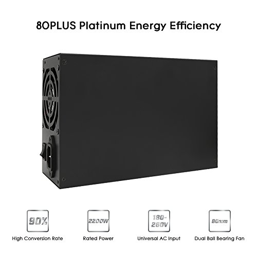Power Supply, KKmoon 2200W 180-260V Switching Power Supply 90% High Efficiency for Ethereum S9 S7 L3 Rig Mining