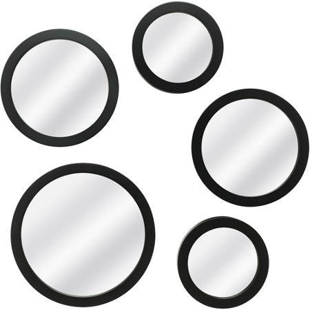 Contemporary Decorative Round 5-Piece Mirror Set With Mounting Hardware, Black by Mainstay (Large Wall Mirrors Circular)