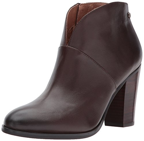206 Collective Women's Everett Leather High Heel Ankle Bootie, Chocolate Brown, 9 B US