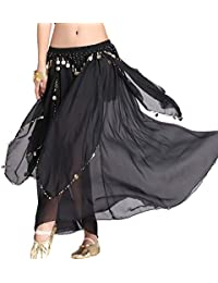 Women's Belly Dance Chiffon Skirt with Coins